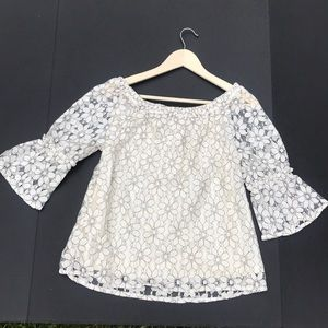 NWT Maurice's OTS White Floral Lace Top